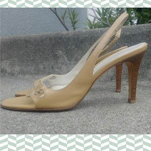 ann taylor nude beige sandal slingback high heels